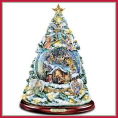 Thomas Kinkade Silent Night Nativity Tabletop Christmas Tree With Swirling Snow by The Bradford Exchange Christmas Tree Star, Tabletop Christmas Tree, Ceramic Christmas Trees, Christmas Scenes, Christmas Holidays, Christmas Decorations, Xmas, Thomas Kinkade Christmas, The Nativity Story