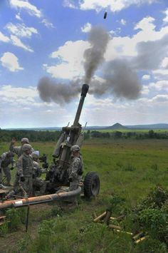 Arkansas National Guard Soldiers fire a 105mm towed howitzer during live fire training at Fort Chaffee.