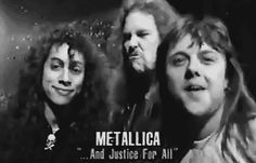 A GIF image I found online of some TV station that filmed these awesome godly 2 seconds of these CUTE Metallica boys! lol Kirk has the cutest smile ALWA.And Justice For All Rock And Roll Bands, Rock Bands, Rock N Roll, Metallica Art, Metallica Black, Jason Newsted Metallica, Ride The Lightning, Kirk Hammett, And Justice For All
