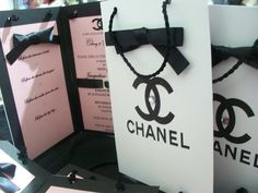 "We Love Shopping....CHANEL Bag Invites~ ""A girl should be two things, Classy and Fabulous!"" from www.Partyshakers.com"
