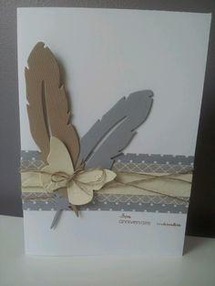Carte anniversaire Framelits plumes Kesi art Papiers et papillon Stampin Up Fil de lin Stampin Up