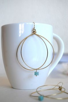 Double hoop earrings with gem drop
