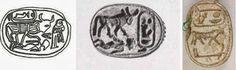 """Figura 5. Scarabei di Amenhotep III (1388–1351 a.C.) dove il sovrano viene ritratto come toro (da sin a dx:  disegno dal rif. 2, e fotografie da questo sito e da questa pagina). I cartigli lo identificano col nome reale Nebmaatre, che è anche una forma crittografica del nome divino Amun (vd. questo post, documento nr. 7, scarabeo dal nuraghe Nurdole di Orani). Nei primi due sigilli il toro-faraone calpesta un nemico, nel terzo ha sotto il geroglifico per """"forte""""."""