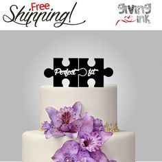 Puzzle Cake Topper Puzzle Pieces perfect fit black by givingINK, $39.00