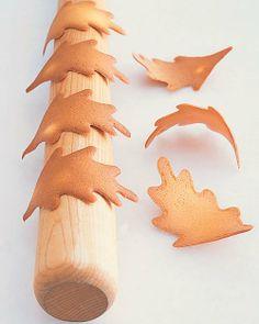 Tuile Leaf Cookies by marthastewart #Cookies #Leaf