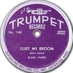 Dust My Broom, Elmo (Elmore) James, Trumpet - 78 Records, Vintage Records, Vinyl Records, Rhythm And Blues, Blues Music, Elmore James, Home Theater Sound System, Center Labels, Vinyl Record Art