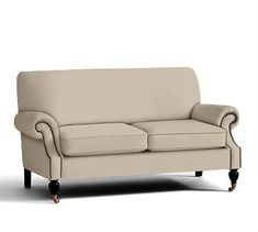 """Brooklyn Upholstered Love Seat 64"""", Polyester Wrapped Cushions, Twill Parchment"""