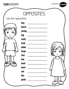 List the Opposites Activity - Free Printable Coloring Pages