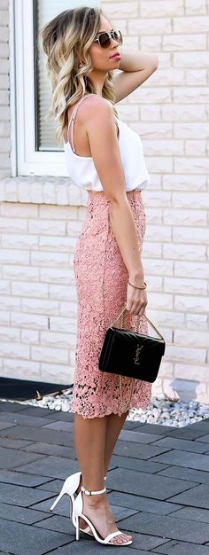 Outfit with blush pink lace pencil skirt, white cami top, white single strap heels and my beloved YSL bag. The perfect, elegant Style for Spring and Summer!