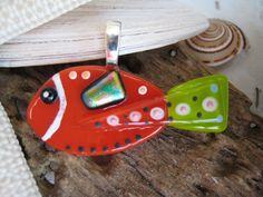 Hand painted Fused glass Orange n Lime FISH pendant   LIMITED Production 012