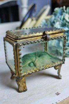 アンティーク ジュエリーボックス(グリーン)  French antique jewelry box(green)