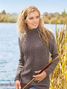 Длинный свитер спицами «Уютная зима»