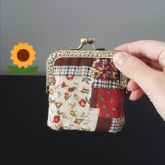 Excited to share the latest addition to my #etsy shop: Handmade burlap small coin purse sweet patch bag flower pattern with metal frame, birthday gift for her, mother, vintage retro kiss lock https://etsy.me/2rCPx27