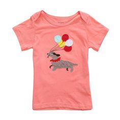 Sale 27% (8.39$) - 2015 New Little Maven Baby Girl Children Dog Red Cotton Short Sleeve T-shirt Top