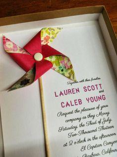 Boxed Wedding Invitation Custom Pinwheel by Rule42 by rule42, $5.95