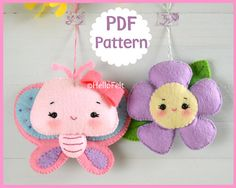 PDF Pattern, Butterfly and Flower, Felt Animal Pattern, Felt plush. Sewing pattern.