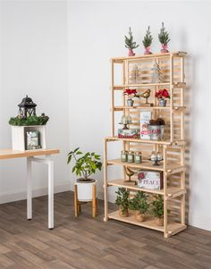 Backed with pallets. Wooden Retail Shelving Unit w/ 6 Shelves - Pine Wood Cheap Shelves, Large Shelves, Wooden Shelves, Pallet Shelves, Wood Display, Display Shelves, Retail Shelving, Office Shelving, Bakers Rack