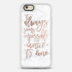 Modern rose gold typography quote - New Standard iPhone 6 Case in Clear and Clear by Girly Trend #phonecase | @casetify