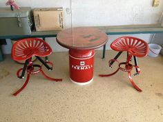 Milk can table and tractor seat stools