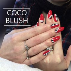 Cocoblushperth coco blush Perth cnd shellac natural nail with RED wildfire and free hand striping nail art