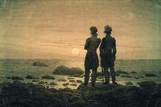 Caspar David Friedrich - Deux hommes pour crépuscule à la mer