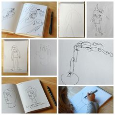 Blind Contour Drawings with Kids - Good practice for drawing what you see, plus it always produces giggles.