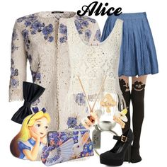 A fashion look from August 2014 featuring oversized coats, skater skirt and disney stockings. Browse and shop related looks. Alice Cosplay, Disney Cosplay, Disney Bound Outfits, Girly Outfits, Disney Inspired Fashion, Disney Fashion, Disney Stockings, Alice In Wonderland Outfit, Character Inspired Outfits