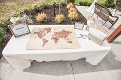 Weltkarte wird zum Gästebuch - Bastelidee