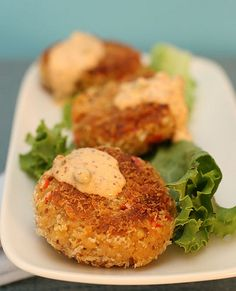 """Isa Chandra strikes again with these Chesapeake Tempeh Cakes. Pollution in the Chesapeake Bay is a big issue, so """"all the more reason to eat tempeh than crabbies! Veggie Recipes, Seafood Recipes, Whole Food Recipes, Vegetarian Recipes, Cooking Recipes, Healthy Recipes, Aperitivos Vegan, Vegan Main Dishes, Vegan Appetizers"""