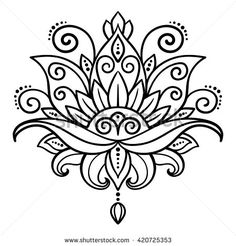 vector, abstract, oriental style, flower, lotus, tattoo, design element, floral designs, doodle, yoga, medallion, hand-drawing - stock vector