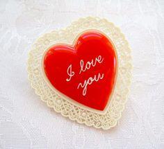 Vintage Plastic Celluloid Red Heart Valentine Pin I Love You Scallop Edge 1940s Bakelite Era