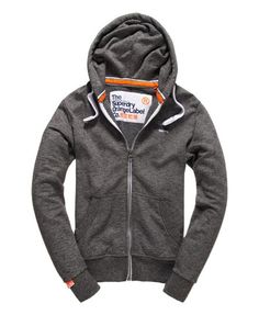 298bfccd1c526 Mens - Orange Label Zip Hoodie in Low Light Black Grit