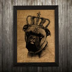 Boxer print. Dog poster. Dog in crown decor. Burlap print.  PLEASE NOTE: this is not actual burlap, this is an art print, the image is printed on
