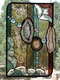 Stained Glass Window SPIRITUAL JOURNEY  by ZuniMountainArtGlass, $485.00