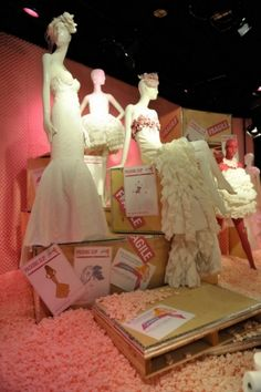 """""""White Cashmere Collection,"""" The Bay, Toronto. """"Handle with Care"""" theme. VMSD"""