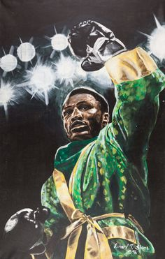 Joe Frazier, oil on canvas (1996) painting by Richard Slone
