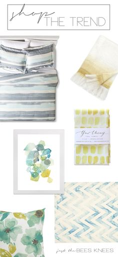 just the bee's knees: Trendy Tuesday ~ Modern Watercolors in Home Decor