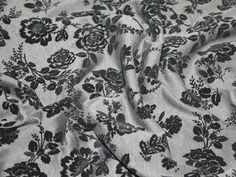 Black & Grey Velour Floral Print Ponte Jersey Clearance Dress Fabric - per metre Preview