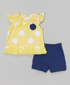 Love this Baby Essentials Yellow & Navy Polka Dot Angel-Sleeve Top & Shorts - Infant by Baby Essentials on #zulily! #zulilyfinds