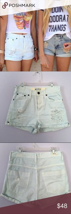 Baby Blue Distressed Denim Shorts Adorable baby blue denim shorts purchased from Brandy Melville! They are a size 38 in Italian sizing which is a small in US sizes! Very rare! Worn only a handful of times! Brandy Melville Shorts Jean Shorts