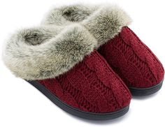 a3b977335e4 Women s Soft Yarn Cable Knit Slippers Memory Foam Anti-Skid Sole House Shoes  w Faux Fur Collar