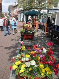 Nantwich, UK. Just a few of the flowers displayed as part of the England's Britain in Bloom Competition which gives awards to towns, cities, and businesses each year. This photo is the beautiful square - opposite 'The Crown' public house and inn. Beyond the flowers to the right is a designer wear fashion store - and there is also another smaller store behind us, as well as a very smart gent's tailor and outfitters store.