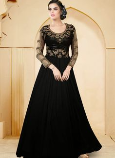 Black Net  Indowestern Gown With Zari Work
