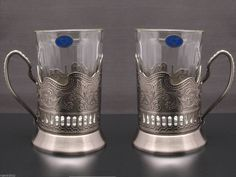 "SET OF 2 RUSSIAN TEA GLASS ""GRANENIY""  & METAL HOLDER ""PODSTAKANNIK"""