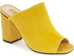 Topshop 'Rule' Block Heel Mule $90 | Mansur Gavriel vibes. Love the yellow suede.