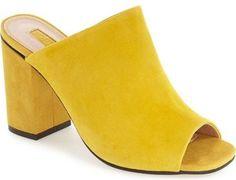 Topshop 'Rule' Block Heel Mule $90 | Mansur Gavriel vibes. Love the yellow suede.