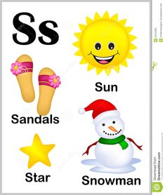 Illustration about Cute and colorful alphabet letter S with set of illustrations and words printable sheet. Illustration of kindergarten, illustration, educate - 50724362 Phonics Flashcards, Flashcards For Kids, Alphabet Phonics, Alphabet Crafts, Alphabet For Kids, Alphabet Letters Images, Alphabet Pictures, Preschool Learning Activities, Preschool Worksheets