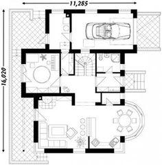 O casa de vis cu 4 dormitoare mansarda si garaj - proiect detaliat cu fotografii Design Case, Floor Plans, Floor Plan Drawing, House Floor Plans