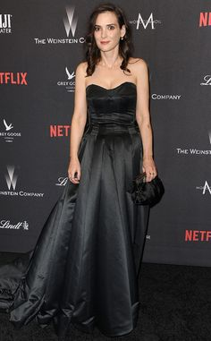 Winona Ryder from Golden Globes 2017 Party Pics The Stranger Things star donned a strapless black gown at the Weinstein Company and Netflix after-party.