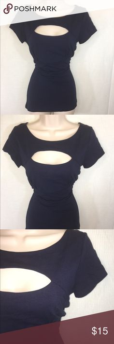 Navy Express Blouse-M A Navy blouse from Express-new with tags! The color and fit are flattering and the cut out above the bust adds an extra bit of flair to make an outfit eye-catching and unique! Express Tops Blouses
